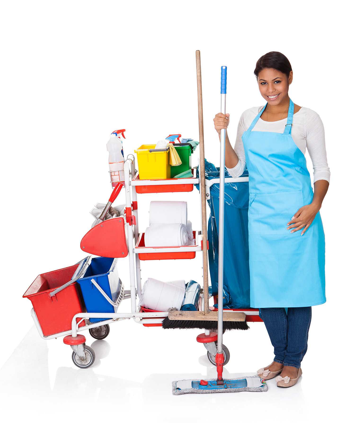 Female Cleaner With Cleaning Equipment. Isolated On White
